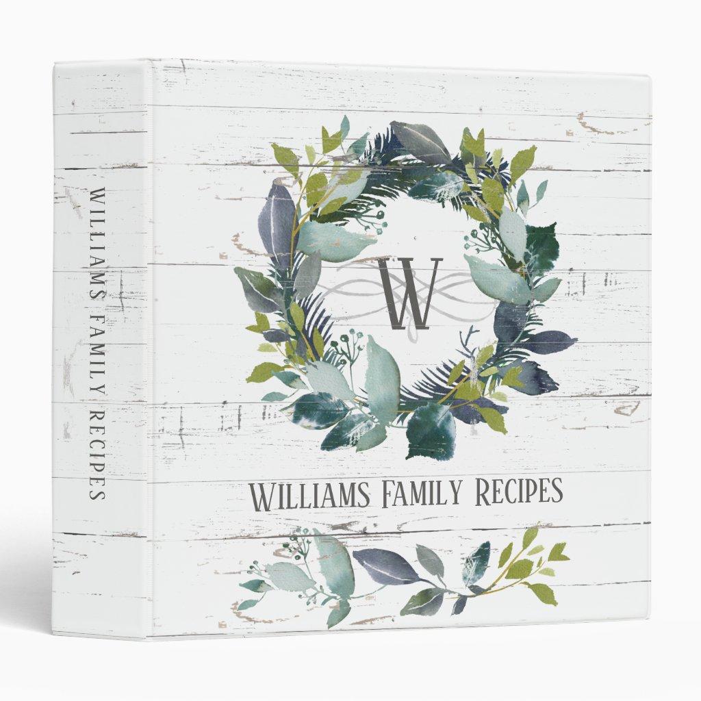 Watercolor Wreath Recipe 3 Ring Binder