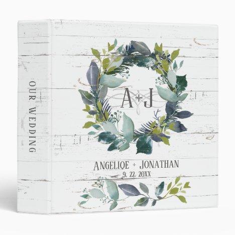 Rustic Watercolor Laurel Wreath Wedding Album 3 Ring Binder