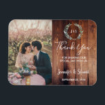 """Rustic Watercolor leaves photo wedding Thank You Magnet<br><div class=""""desc"""">Rustic Watercolor leaves on dark barn wood,  monogrammed,  photo wedding Thank You magnet. Elegant rustic cards to say thank you to your wedding guests. Add your own photo,  names and text to make it very unique and personal.</div>"""