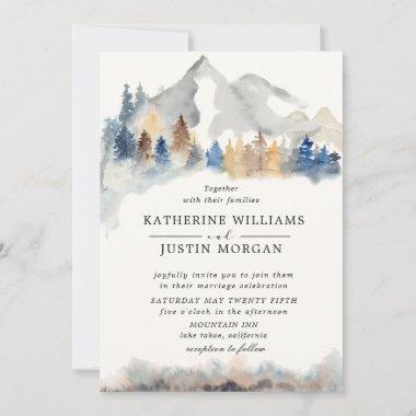 Rustic watercolor mountain Wedding Invitation