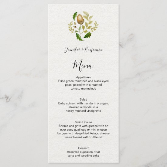 Rustic Watercolor Oak Leaves and Acorns | Menu