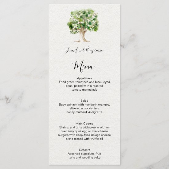 Rustic Watercolor Oak Tree | Menu