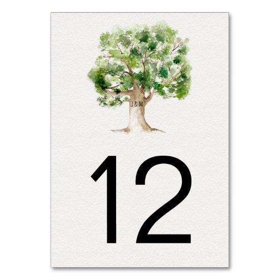 Rustic Watercolor Oak Tree | Table Number