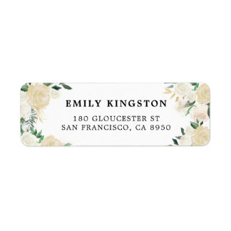 Rustic Watercolor Pale Peonies with Gold Accents Label