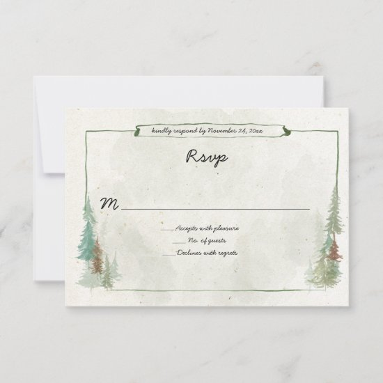 Rustic Watercolor Pine Forest  RSVP