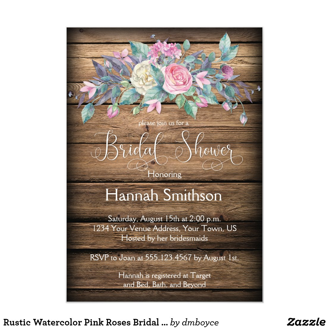Rustic Watercolor Pink Roses Bridal Shower Card