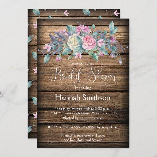 Rustic Watercolor Pink Roses Bridal Shower Invitation