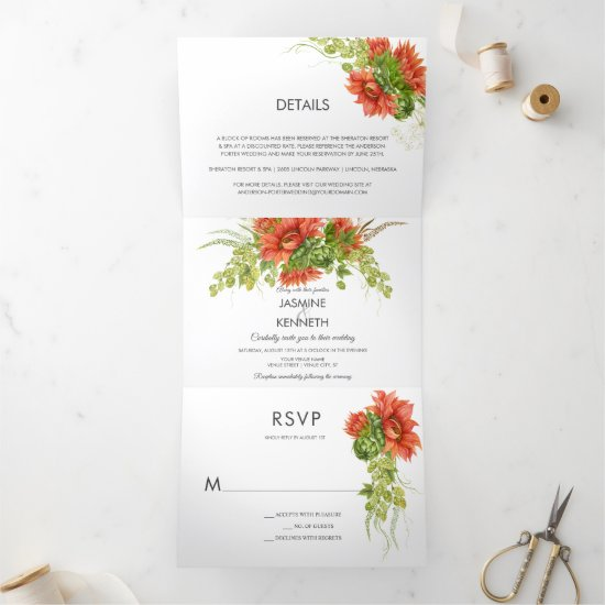 Rustic Watercolor Red/Orange Sunflowers Greenery   Tri-Fold Invitation
