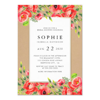 Rustic Watercolor Red Poppies Floral Bridal Shower Card