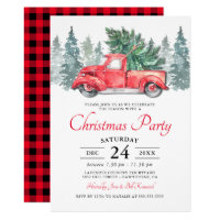 Rustic Watercolor Red Truck Christmas Party Invitation