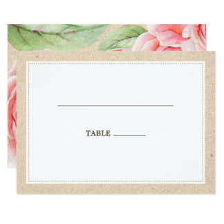 Rustic Watercolor Roses Wedding Table Place Cards