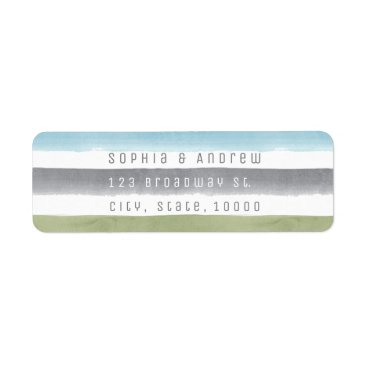 Beach Themed Rustic watercolor stripes nautical beach wedding label