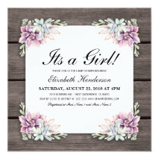 Rustic Watercolor Succulent Floral Baby Shower Invite