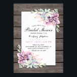 """Rustic Watercolor Succulent Floral Bridal Shower Card<br><div class=""""desc"""">Country chic bridal shower invitations featuring a rustic wood barn background, a succulent corner display and a bridal text template. Click on the """"Customize it"""" button for further personalization of this template. You will be able to modify all text, including the style, colors, and sizes. You will find matching items...</div>"""