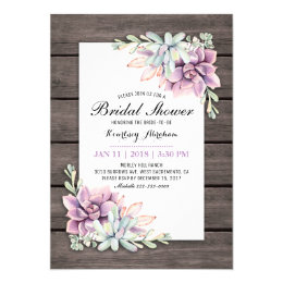 Rustic Watercolor Succulent Floral Bridal Shower Card