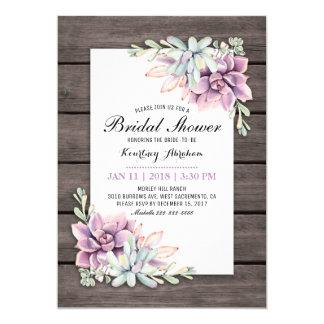 Rustic Watercolor Succulent Floral Bridal Shower Invitation