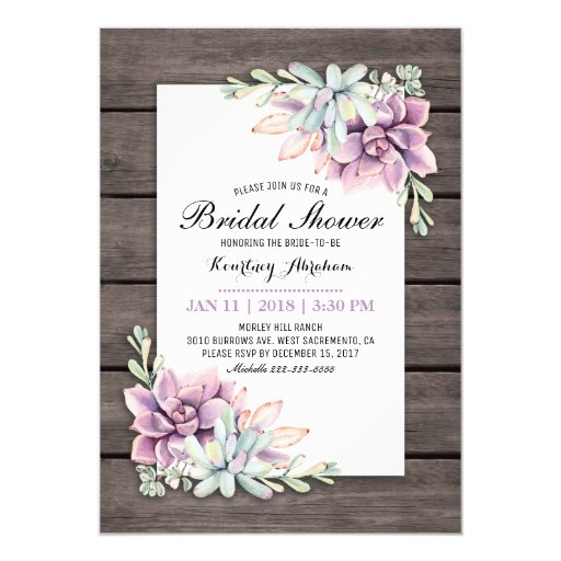 Rustic Watercolor Succulent Floral Bridal Shower Invitation