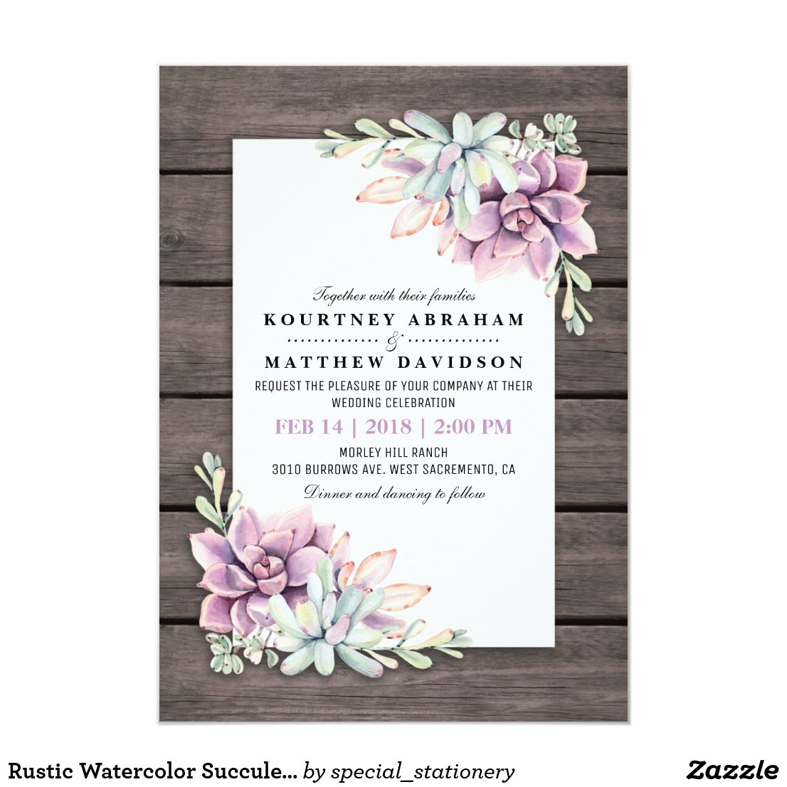 Rustic Watercolor Succulent Wedding Invitation