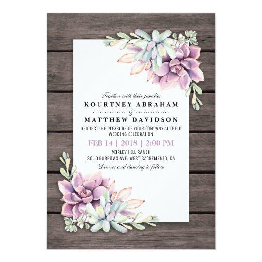 Succulent Wedding Invitation Unique Rustic Wedding Invitationscom