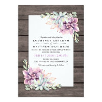 Rustic Watercolor Succulent Floral Wedding Invitation