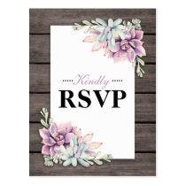 Rustic Watercolor Succulent Floral Wedding RSVP Postcard