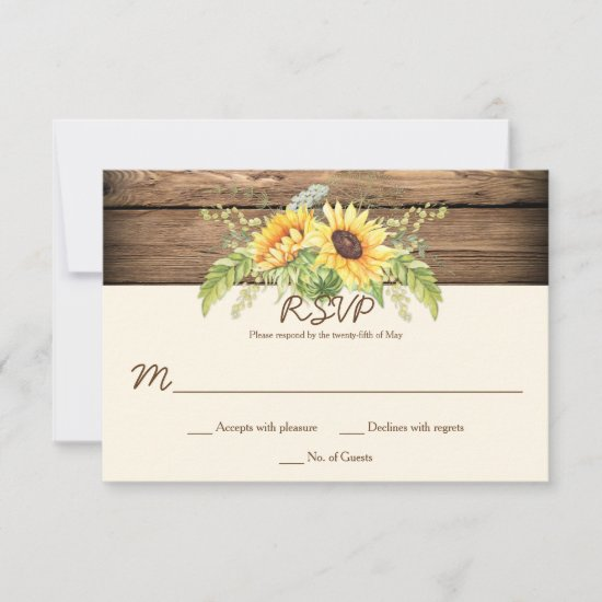 Rustic Watercolor Sunflowers Barn Wood RSVPs RSVP Card
