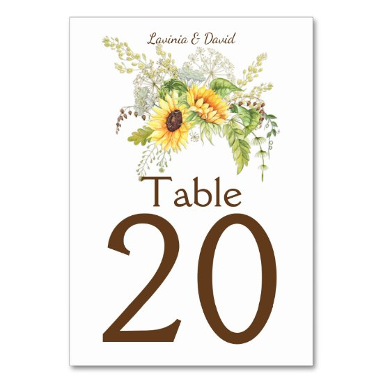 Rustic Watercolor Sunflowers Bouquet Table Numbers
