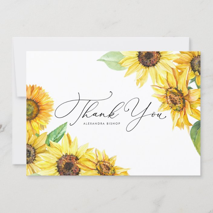 Vintage Sunflower Formal Personalized Wedding Thank You Cards