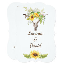 Rustic Watercolor Sunflowers Long Horn Cow Skull Invitation