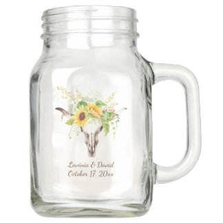 Rustic Watercolor Sunflowers Long Horn Cow Skull Mason Jar