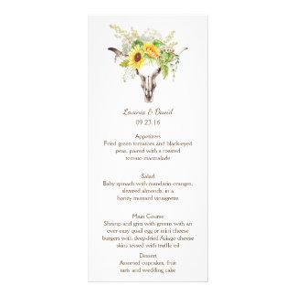 Rustic Watercolor Sunflowers Long Horn Menu Cards