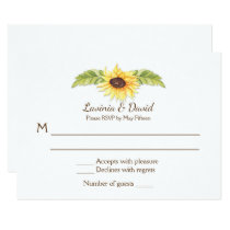 Rustic Watercolor Sunflowers Long Horn Skull RSVP Card