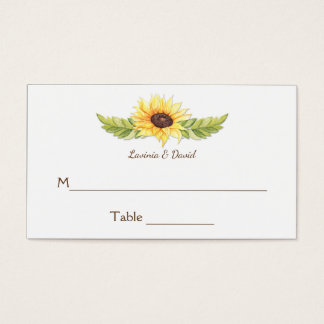 Rustic Watercolor Sunflowers Place Cards