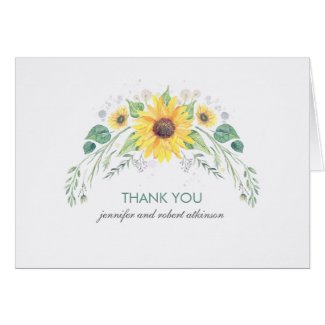 RRustic Sunflowers Wedding Thank You Cards
