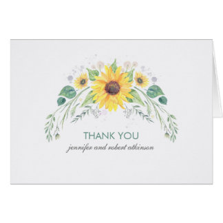 Rustic Watercolor Sunflowers Wedding Thank You Card