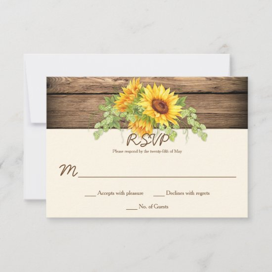 Rustic Watercolor Sunflowers Wreath Barn Wood RSVP