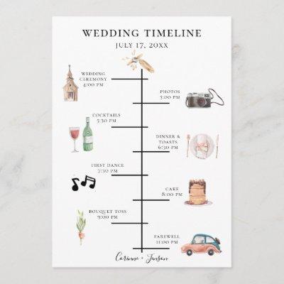 Rustic Watercolor Wedding Timeline Program