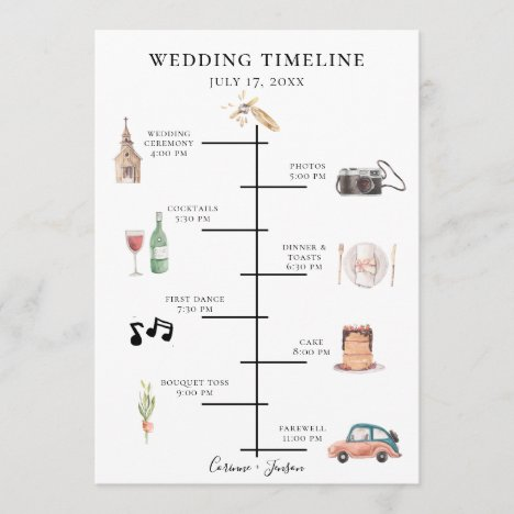 Rustic Watercolor Wedding Timeline Program