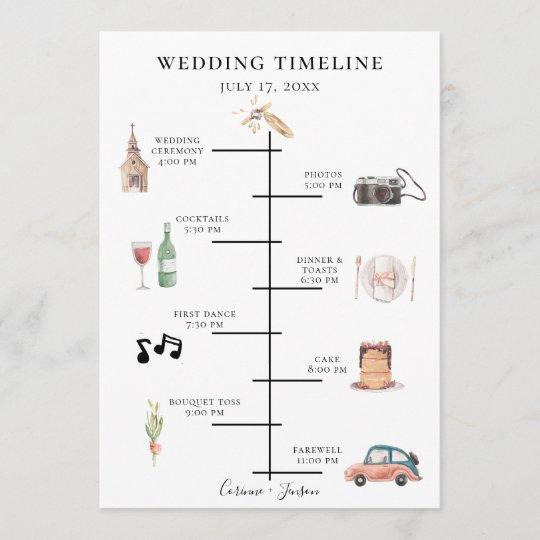 Wedding Invitation Timeline: Rustic Watercolor Wedding Timeline Program
