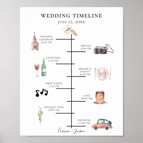 Rustic Watercolor Wedding Timeline Program Poster