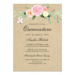 Hand shaped Rustic Watercolor Wildflower Quinceanera Invite
