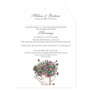 Rustic Watering Can Floral Evening Invitation