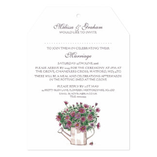 Rustic Watering Can Floral Wedding Invitation