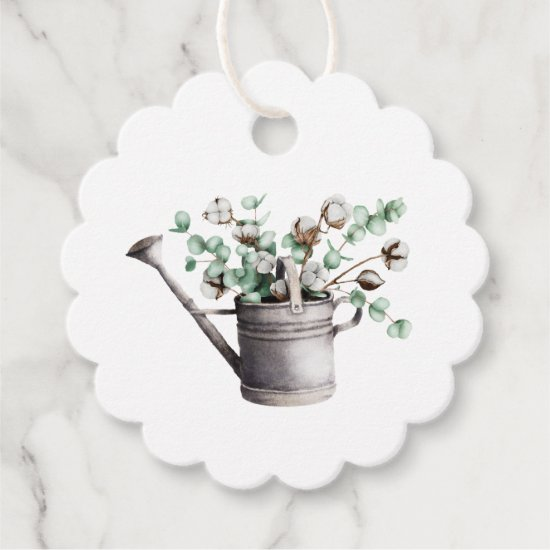 Rustic Watering Can with Eucalyptus and Cotton | Favor Tags