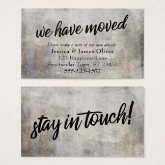 "Rustic ""We Have Moved"" Insert Card in Neutral Hues"