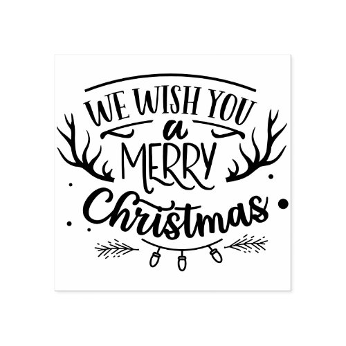 Rustic We Wish You Merry Christmas Farmhouse Rubber Stamp