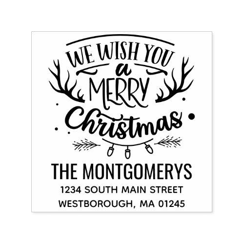 Rustic We Wish You Merry Christmas Return Address Self_inking Stamp