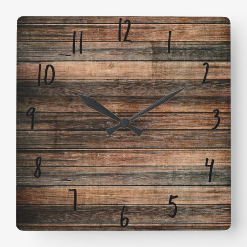 Rustic Weathered Wood Square Wall Clock