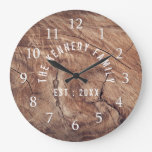 Rustic Weathered Wood  Country Family Name Large Clock
