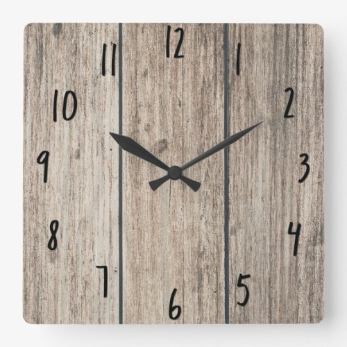 Rustic Weathered Wood Farmhouse Barn Country Square Wall Clock